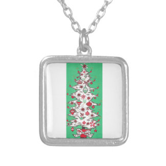 Beautiful Vintage Mid Century Mod Christmas Tree Silver Plated Necklace