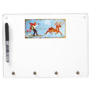 Beautiful Vintage Mid Century Reindeer & Girl Dry Erase Board