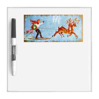 Beautiful Vintage Mid Century Reindeer & Girl Dry-Erase Whiteboards