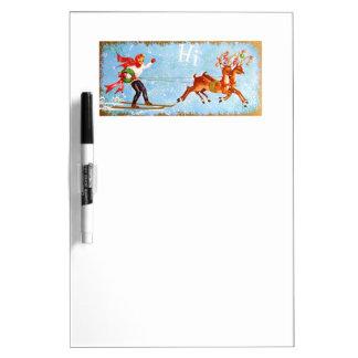 Beautiful Vintage Mid Century Reindeer & Girl Dry Erase Whiteboards