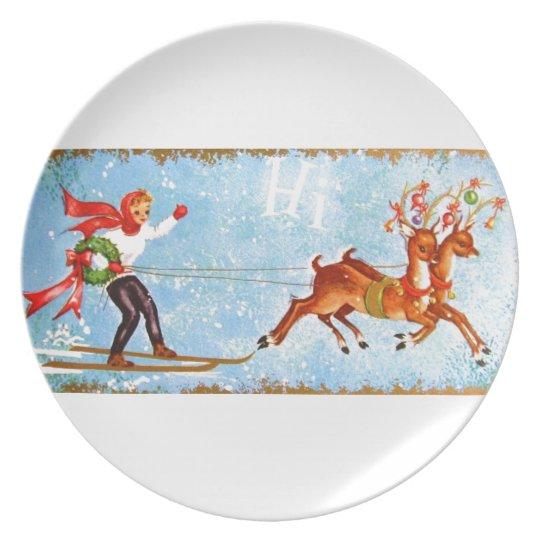 Beautiful Vintage Mid Century Reindeer & Girl Plate