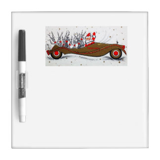 Beautiful Vintage Mid Century Santa & Reindeer Dry Erase Whiteboard