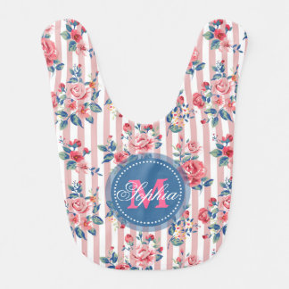 Beautiful vintage monogram roses floral stripes bib