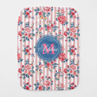 Beautiful vintage monogram roses floral stripes burp cloth