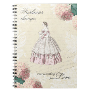 Beautiful vintage notebook with fashion quote