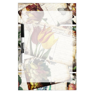 Beautiful Vintage Old Floral Postcards Design Gift Dry Erase Board