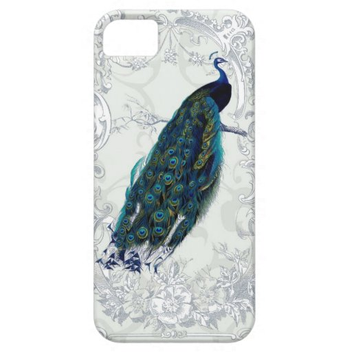 Beautiful vintage peacock art personalized iPhone 5/5S cases