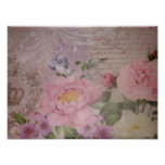 Beautiful vintage pink and blue roses and flowers poster