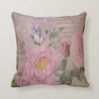 Beautiful vintage pink and blue roses and flowers throw pillow