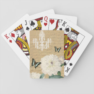 Beautiful vintage playing cards with peony