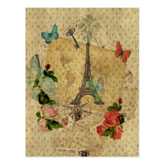 Beautiful vintage post cards collage Eiffel tower