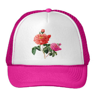 beautiful vintage red and pink rose flowers mesh hats