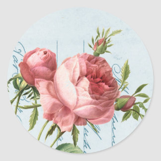 Beautiful vintage rose round sticker