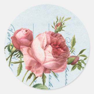 Beautiful vintage rose round sticker