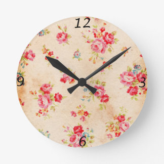 Beautiful vintage roses and other flowers round clock