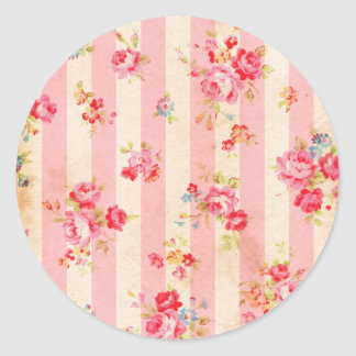 Beautiful vintage roses and other flowers round sticker