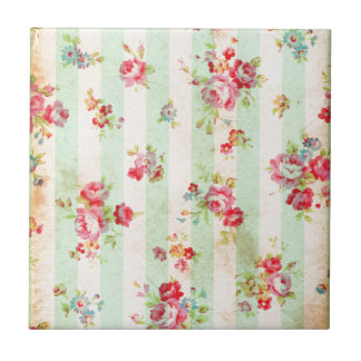 Beautiful vintage roses and other flowers small square tile