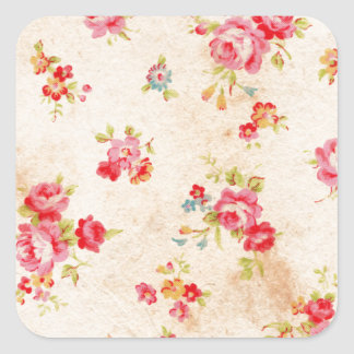 Beautiful vintage roses and other flowers square sticker