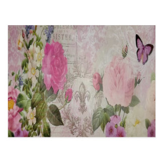 Beautiful vintage roses butterfly fleur de lis postcard