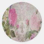 Beautiful vintage roses butterfly fleur de lis round sticker