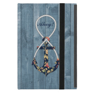 Beautiful vintage roses floral anchor infinity cover for iPad mini