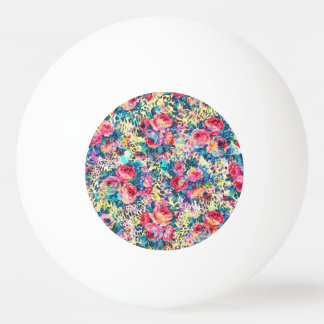 Beautiful vintage roses floral watercolors leopard ping pong ball