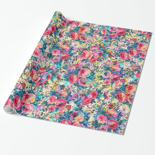 Beautiful vintage roses floral watercolors leopard wrapping paper