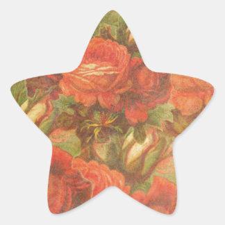Beautiful Vintage Roses Gunge Star Sticker