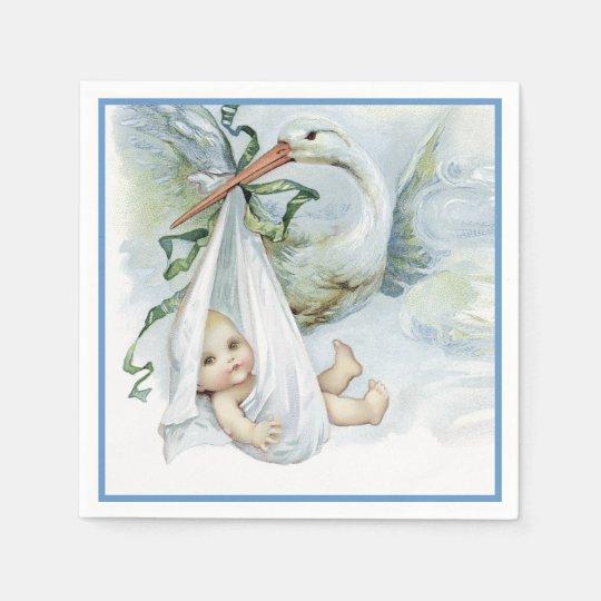 Beautiful Vintage Stork Baby Boy Shower Disposable Serviette