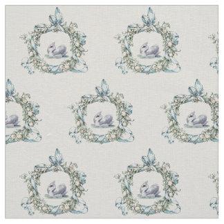 Beautiful vintage swan in delicate wreath design fabric