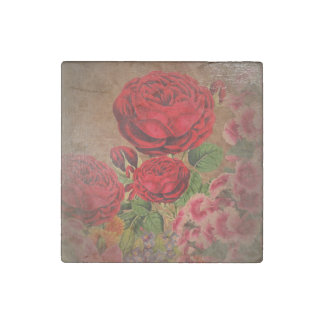 Beautiful Vintage Textured Rose Stone Magnet