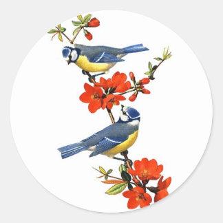 Beautiful vintage tree blossom red flowers birds classic round sticker