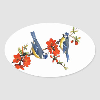 Beautiful vintage tree blossom red flowers birds oval sticker
