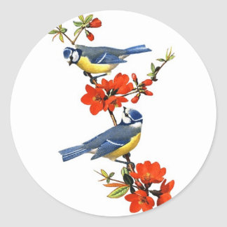 Beautiful vintage tree blossom red flowers birds round sticker