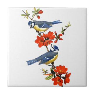 Beautiful vintage tree blossom red flowers birds tile
