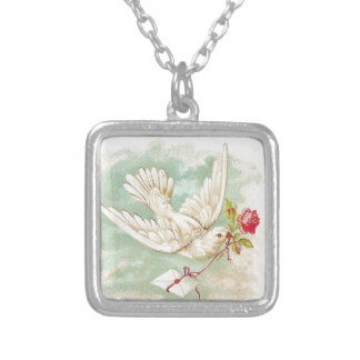 BEAUTIFUL Vintage Victorian Dove Letter Silver Plated Necklace
