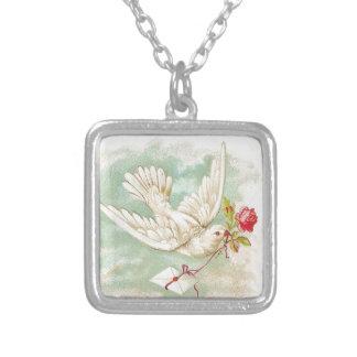BEAUTIFUL Vintage Victorian Dove Letter Square Pendant Necklace