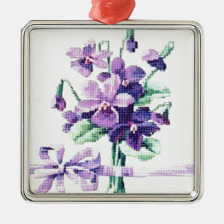 Beautiful Vintage Victorian Violet Silver-Colored Square Decoration