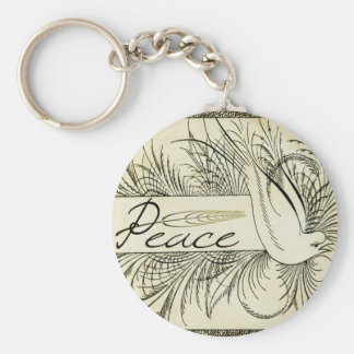 Beautiful Vintage white dove surrounded by foliage Key Ring