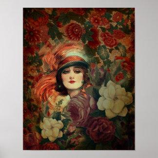 Beautiful Vintage Woman Flower Garden  Print