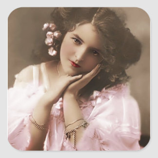 Beautiful vintage Woman Square Sticker