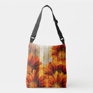 Beautiful Vintage Wood Flowers Cross Body Tote Tote Bag