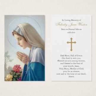 Beautiful Virgin Mary Funeral Prayer Card