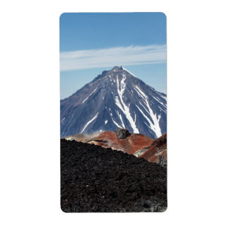 Beautiful volcano landscape in Kamchatka Peninsula Shipping Label