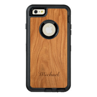 Beautiful Walnut Wood Grain Look with Custom Name OtterBox Defender iPhone Case