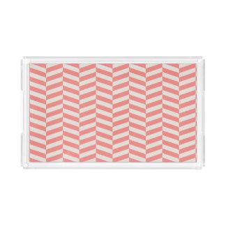 Beautiful warm pink beige zigzag geometric pattern acrylic tray