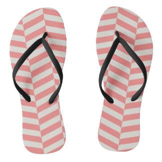 Beautiful warm pink beige zigzag geometric pattern flip flops
