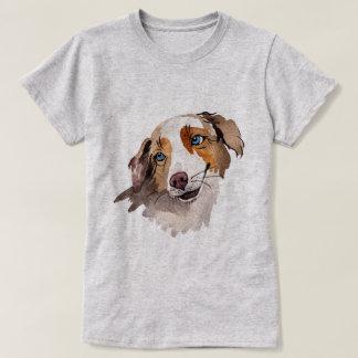 Beautiful Watercolor Blue Eyed Australian Shepherd T-Shirt