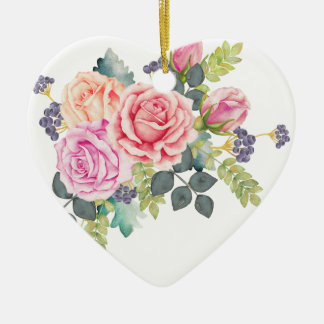 Beautiful Watercolor Bouquet of Pink Peach Roses 2 Ceramic Heart Decoration