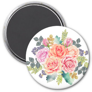 Beautiful Watercolor Bouquet of Pink Peach Roses Magnet
